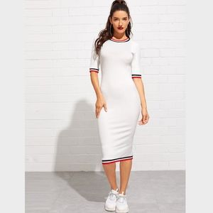 Rib Knit White Midi Casual Slim Dress